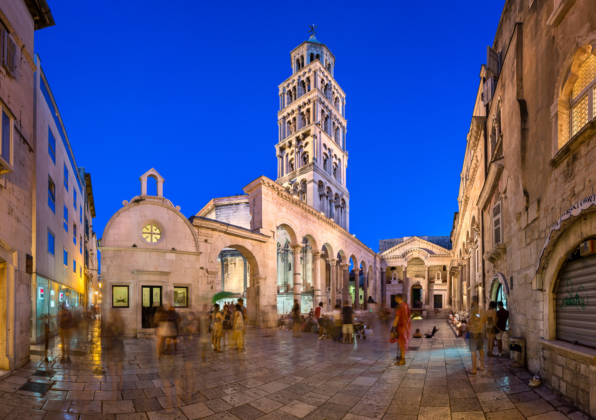 The Peristyle of Diocletian's Palace in Split. Palace was built by emperor Diocletian in preparation for his retirement on 1 May 305 AD.