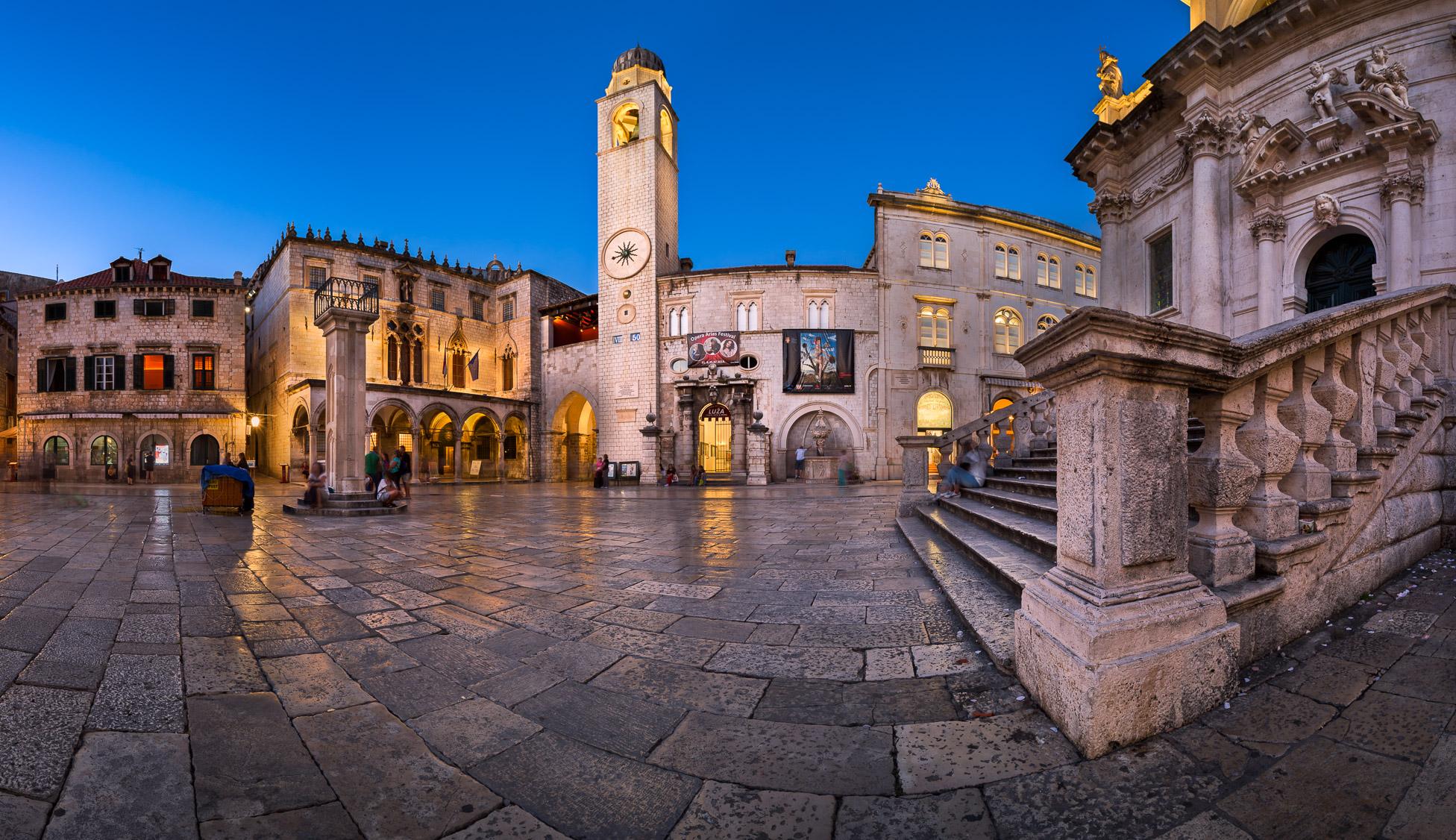 Panorama of Luza Square, Sponza Palace and Orlando Column in Dubrovnik, Dalmatia, Croatia