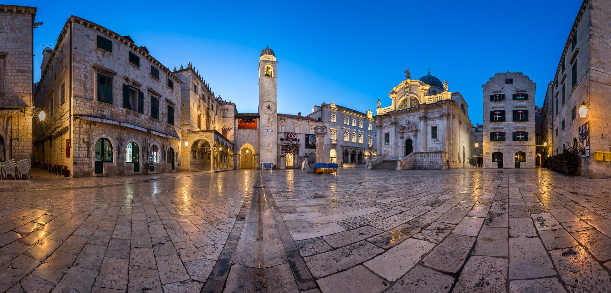 Panorama of Luza Square and Sponza Palace in Dubrovnik, Croatia