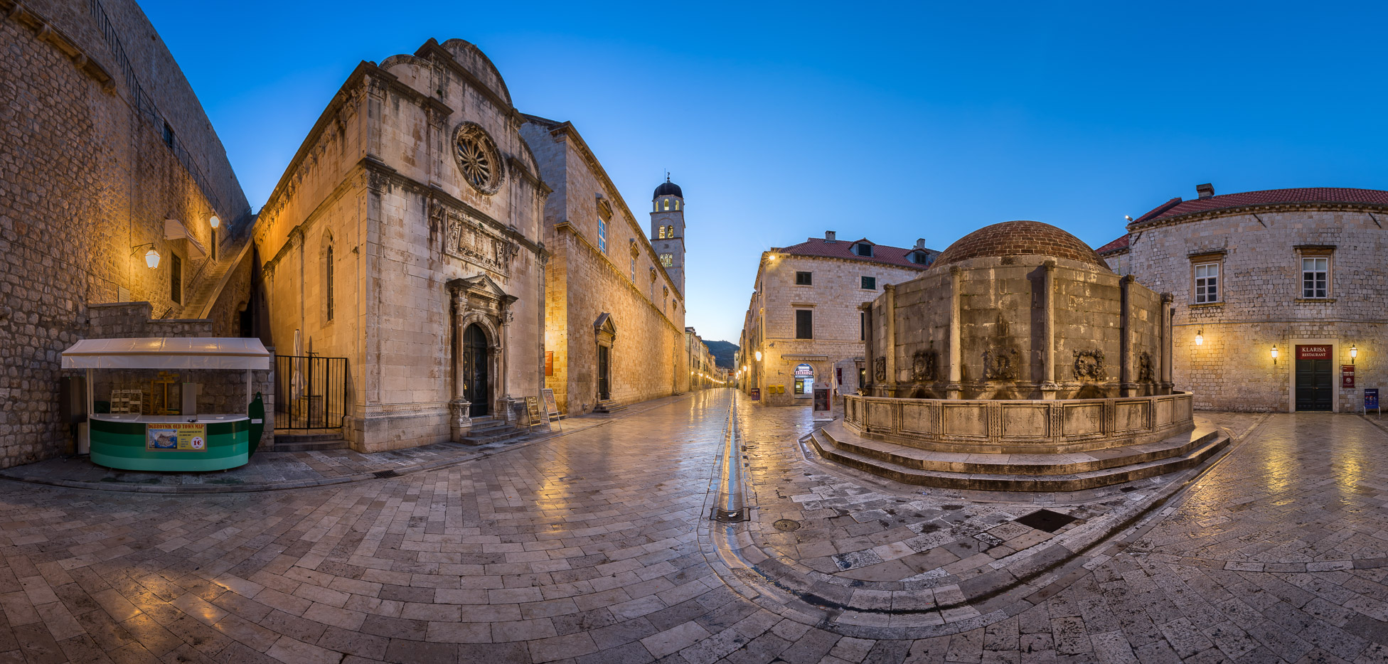 Panorama of Great Onofrio Fountain and Holy Saviour Church in the Evening, Dubrovnik, Croatia