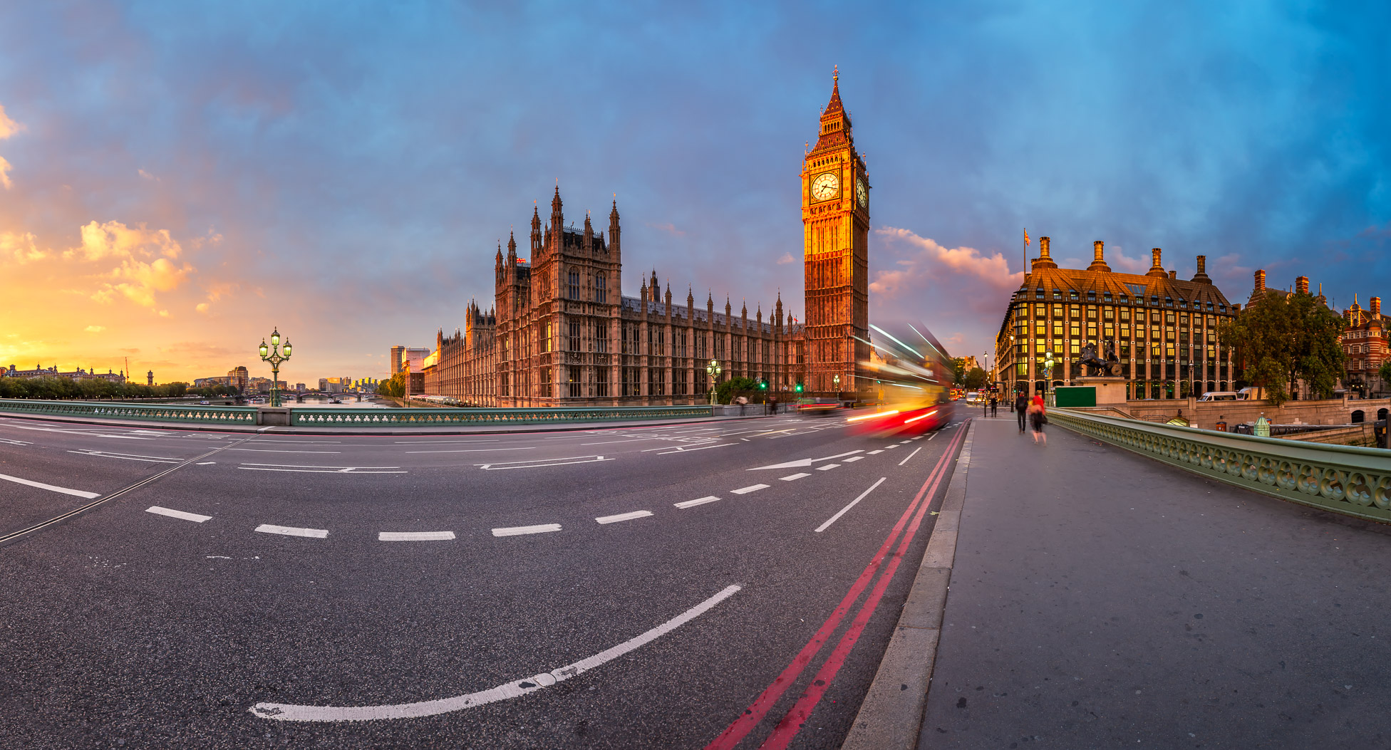 Panorama of Clock Tower and Westminster Bridge in the Morning, London, United Kingdom