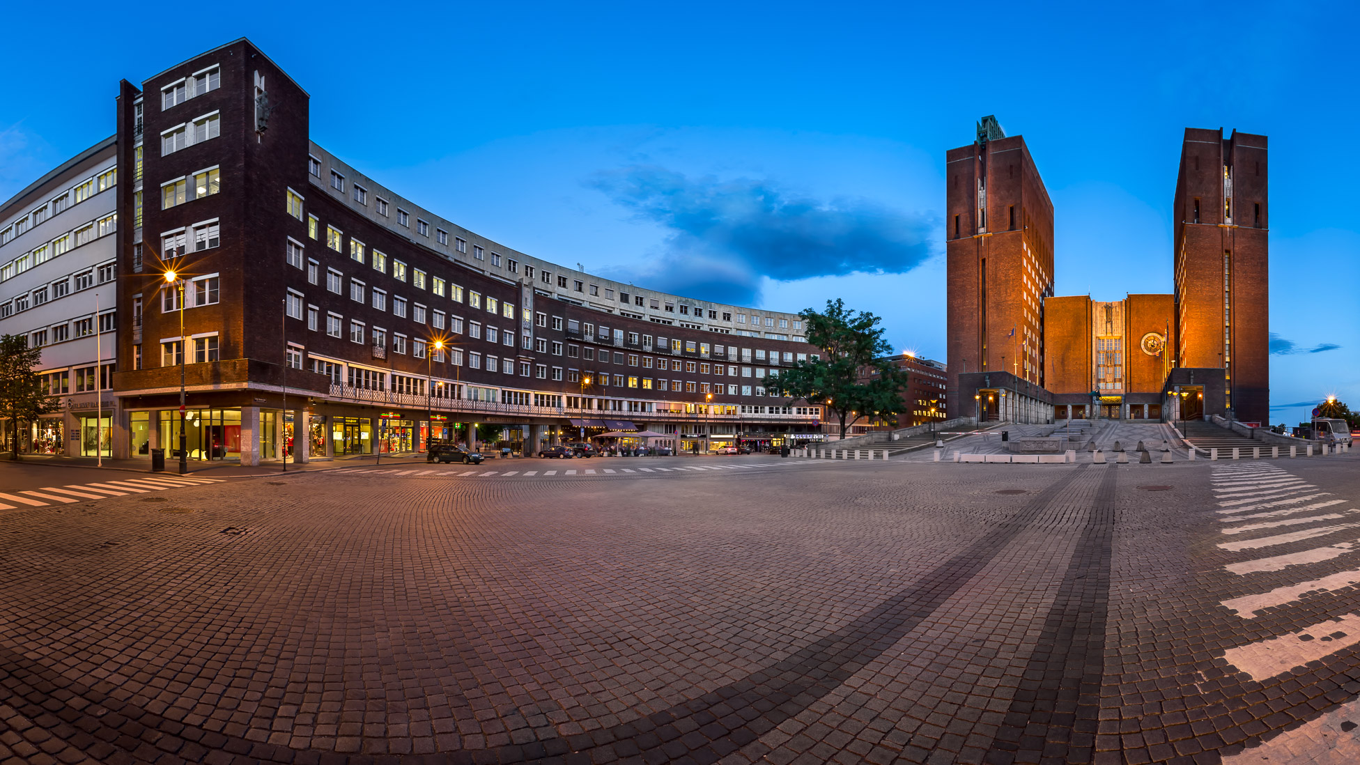 Panorama of Oslo City Hall and Fridtjof Nansens Plass in the Evening, Oslo, Norway