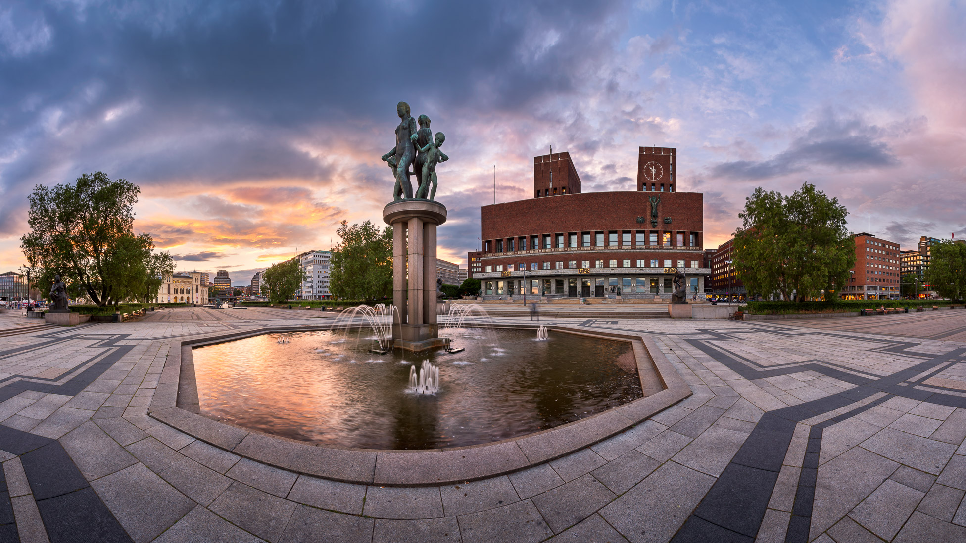 Panorama of Oslo City Hall in the Evening, Oslo, Norway