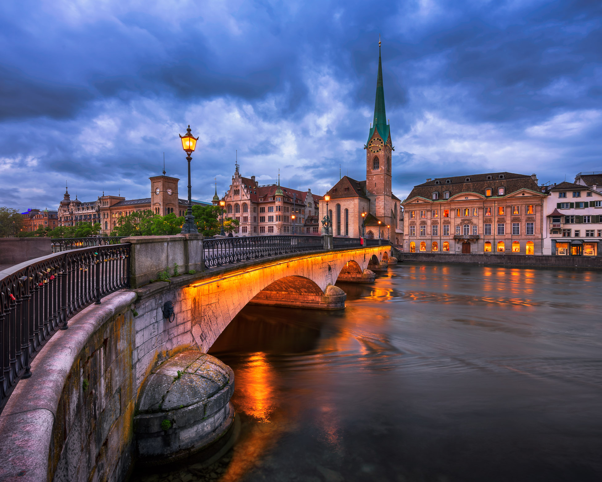 Fraumunster Church and Limmat River in the Evening, Zurich, Switzerland