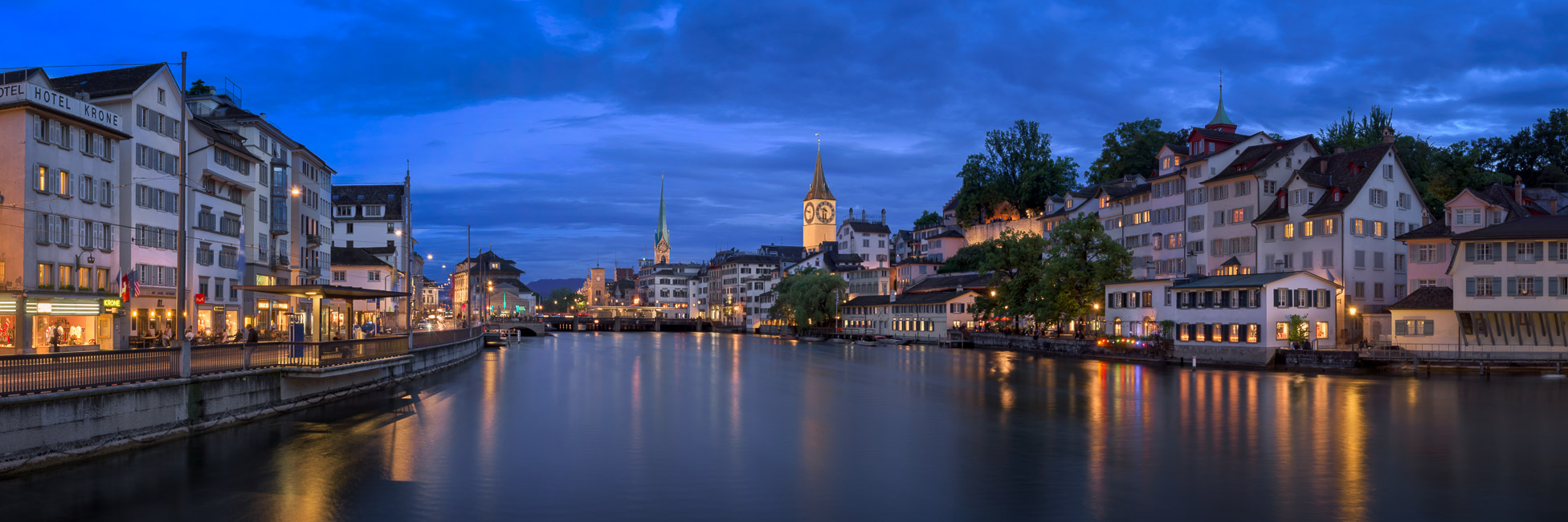 Zurich Skyline and Limmat River in the Evening, Zurich, Switzerland