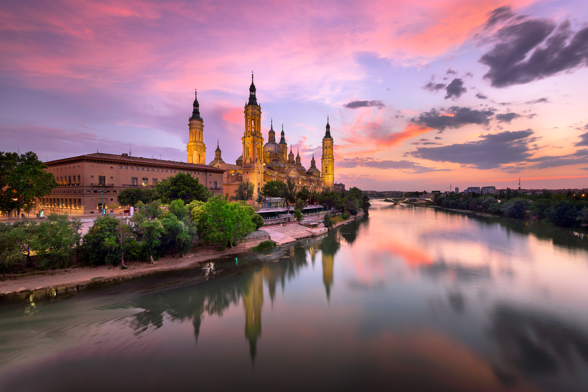 Basilica of Our Lady of the Pillar and Ebor River in the Evening, Zaragoza, Aragon, Spain