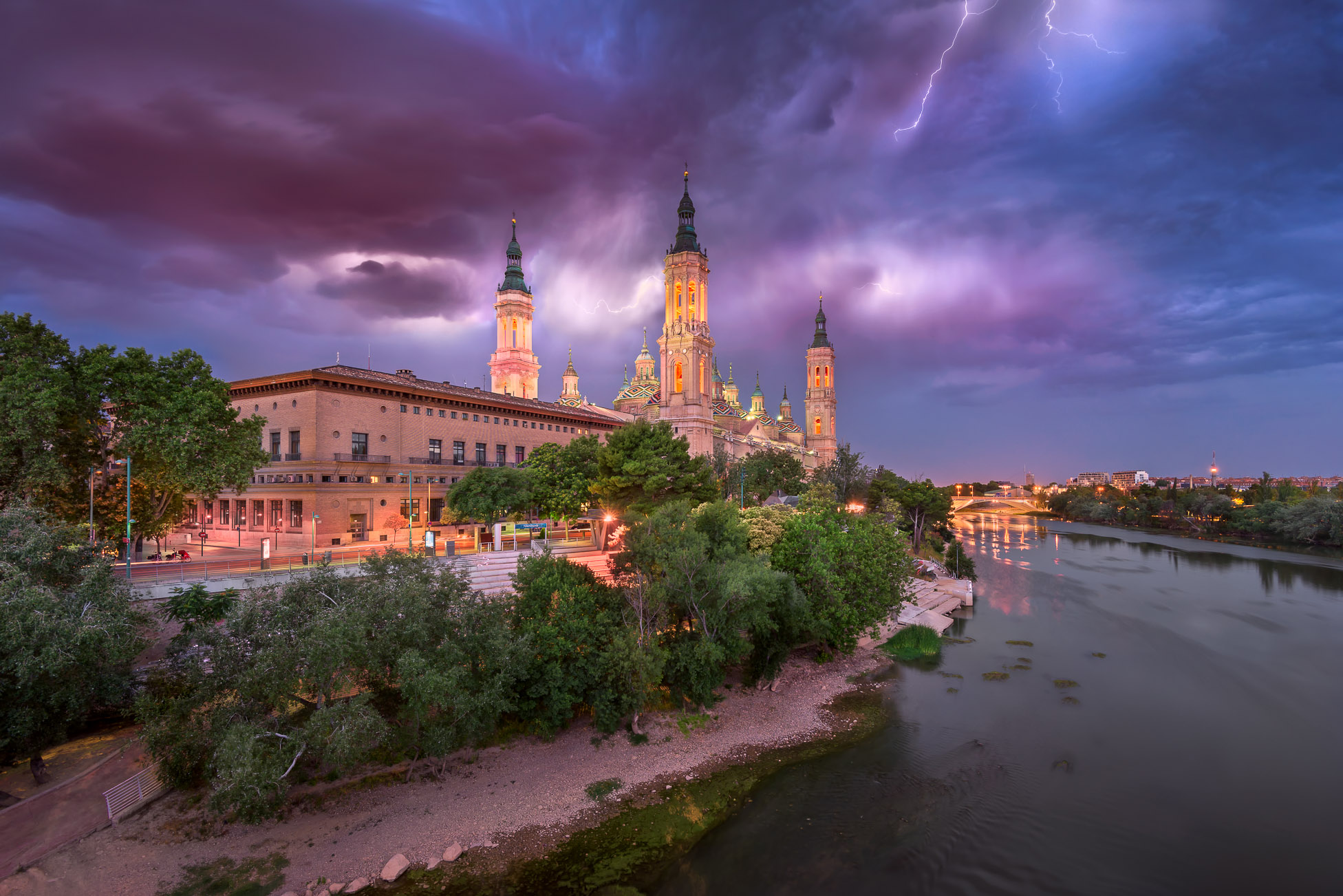Lighting Storm over Basilica of Our Lady of the Pillar and Ebro River, Zaragoza, Aragon, Spain
