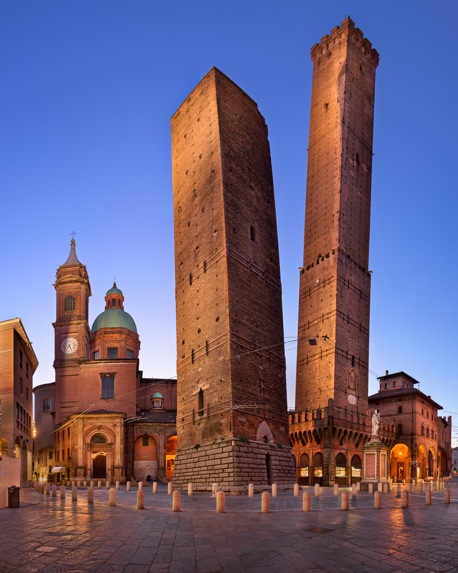 Two Towers and Chiesa di San Bartolomeo in the Morning, Bologna, Emilia-Romagna, Italy