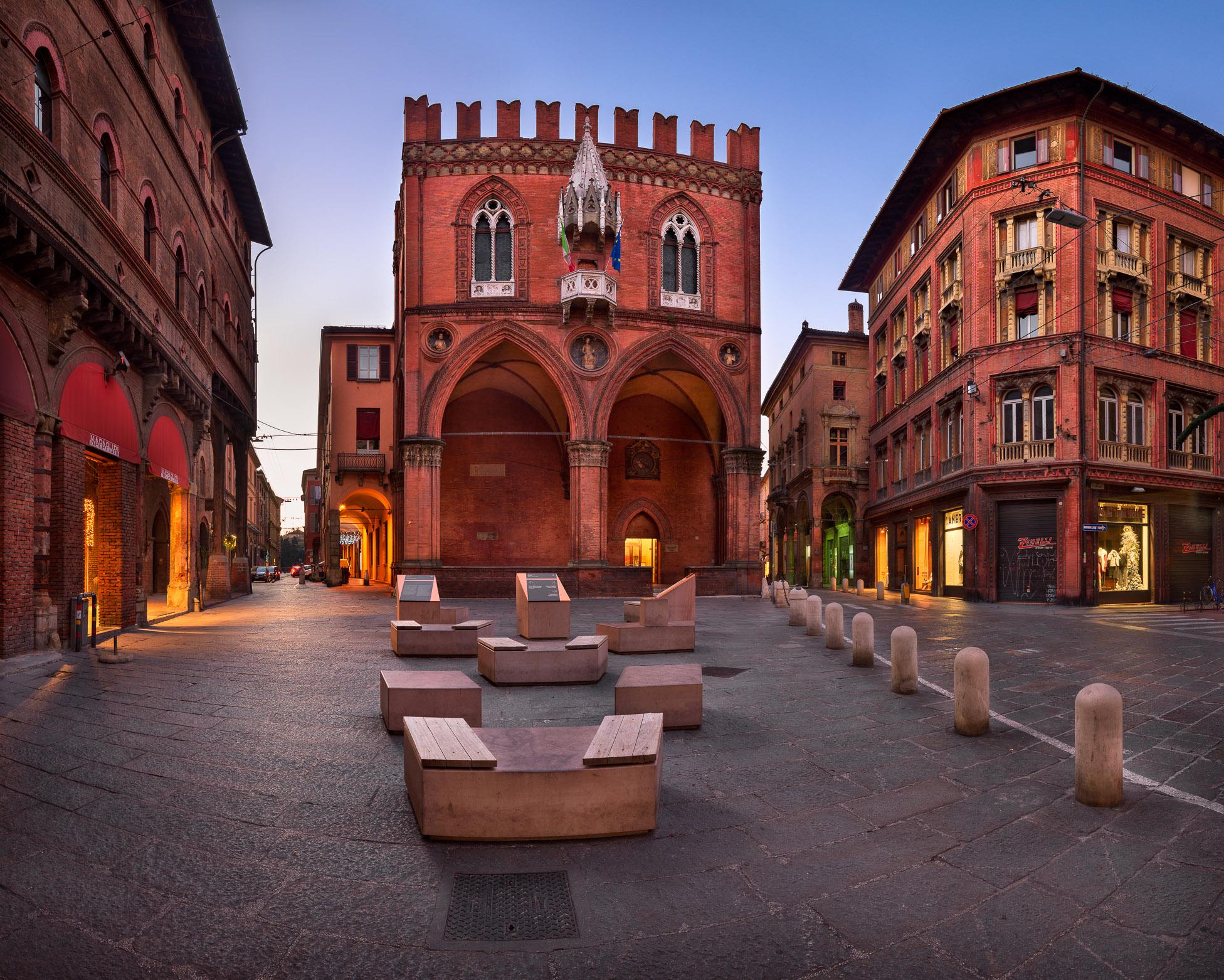 Piazza della Mercanzia in the Morning, Bologna, Emilia-Romagna, Italy
