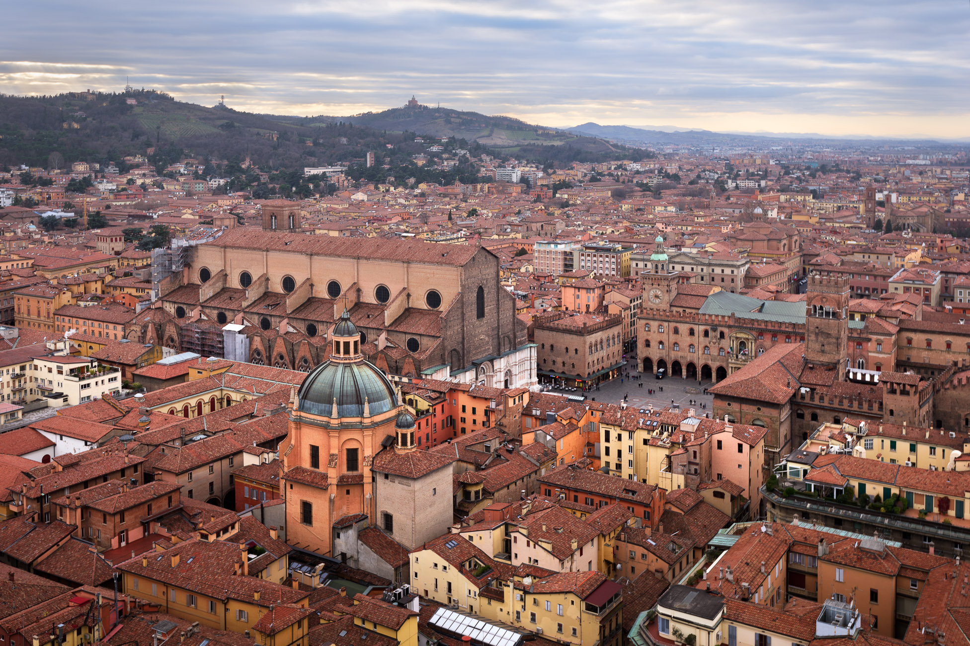 Aerial View of Bologna from Asinelli Tower, Bologna, Emilia-Romagna, Italy