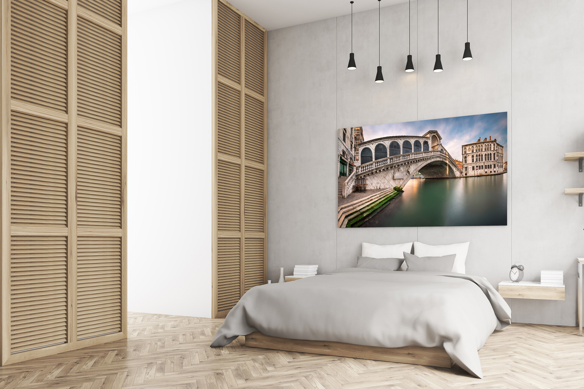 Room with Bed and Venice Fine Art Print above