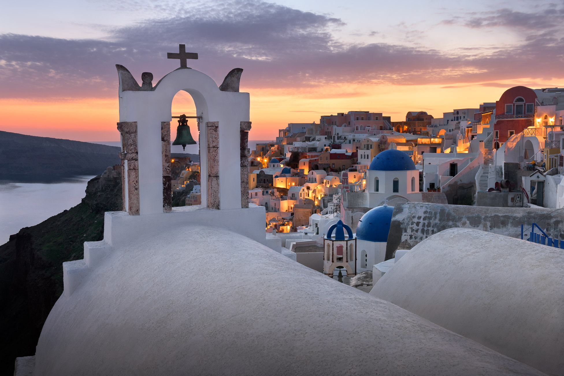 White Churches of Oia Village at Sunset, Santorini, Greece