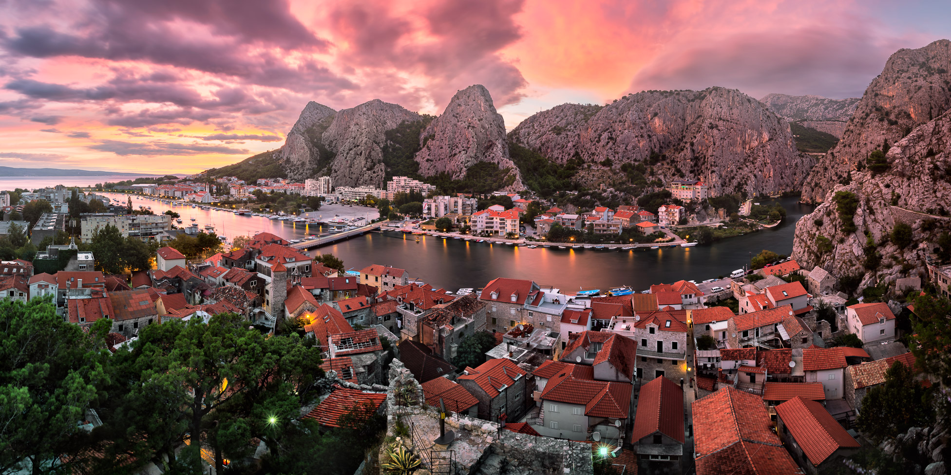 Aerial View of Omis and Cetina River at Dramatic Sunset, Dalmatia, Croatia