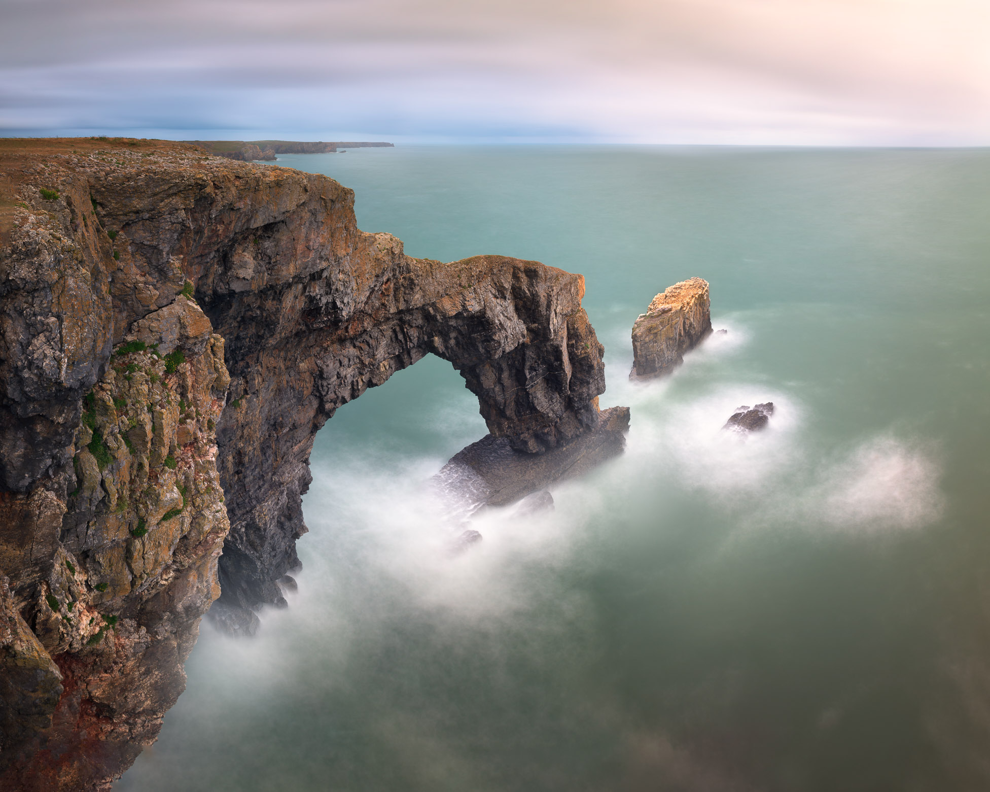 Green Bridge in the Morning, Pembrokeshire, South Wales, United Kingdom