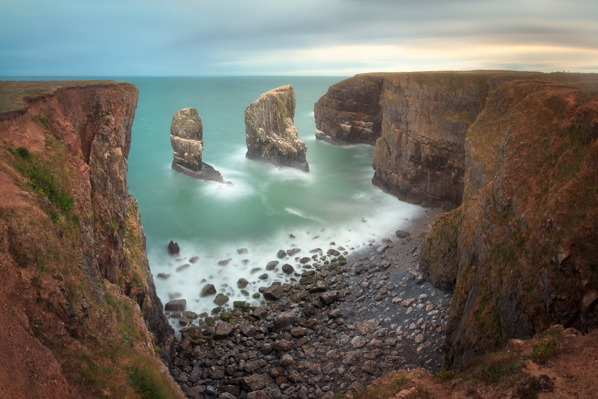 Stack Rocks in the Morning, Pembrokeshire, South Wales, United Kingdom