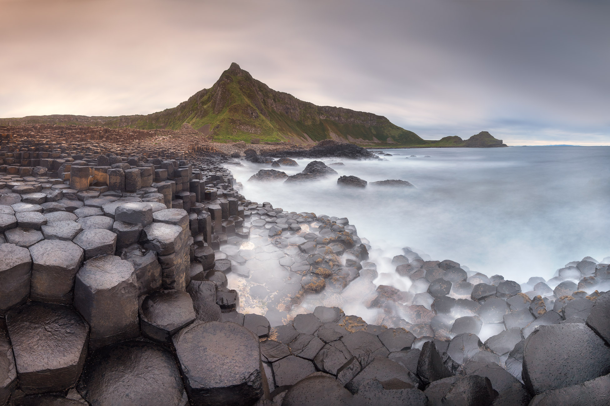 Panorama of Giant Causeway in the Evening, Northern Ireland, United Kingdom