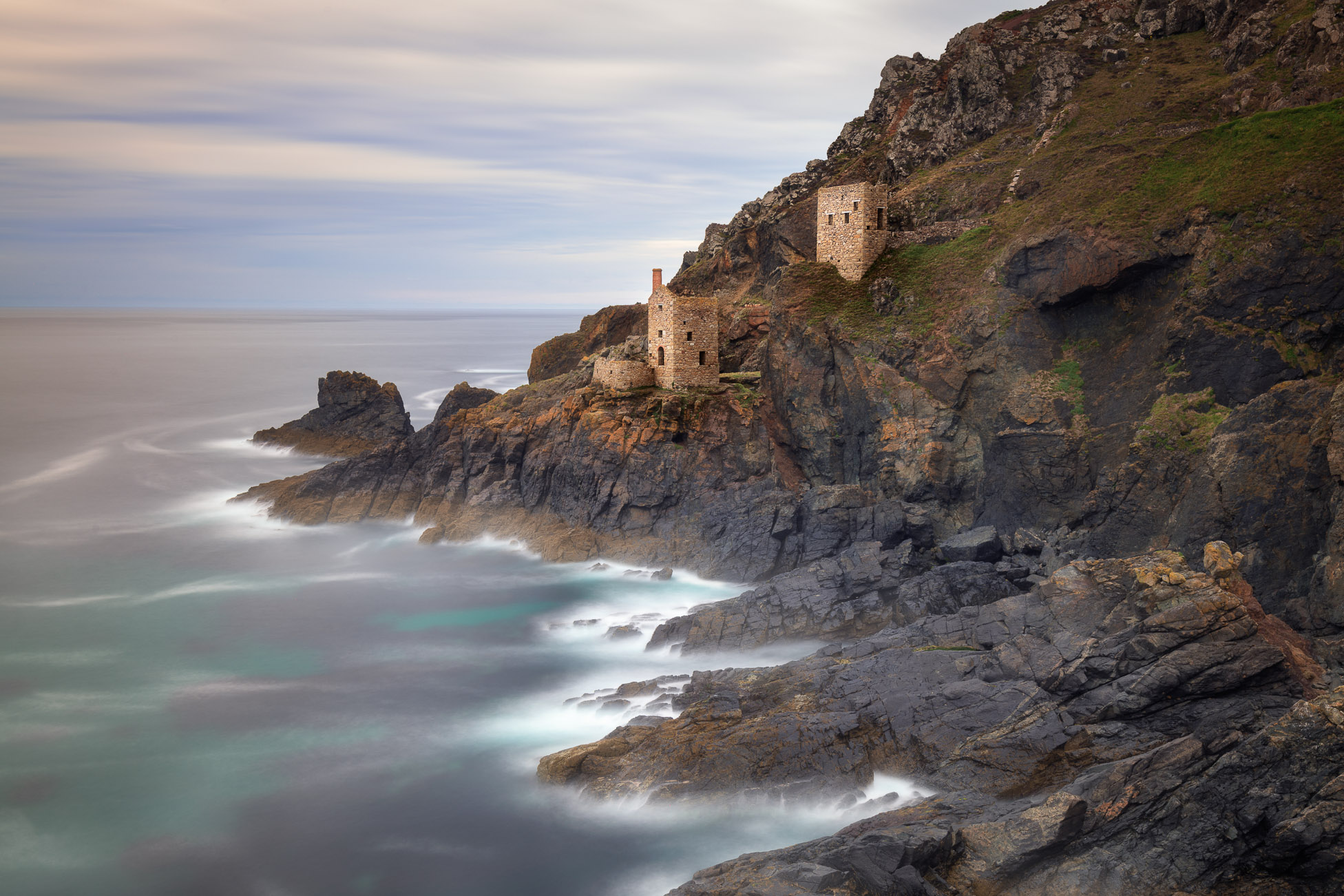Botallack Engine Houses in the Evening, Cornwall, United Kingdom