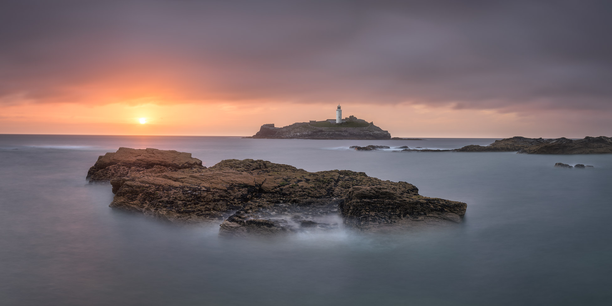 Godrevy Lighthouse in the Evening, Cornwall, United Kingdom