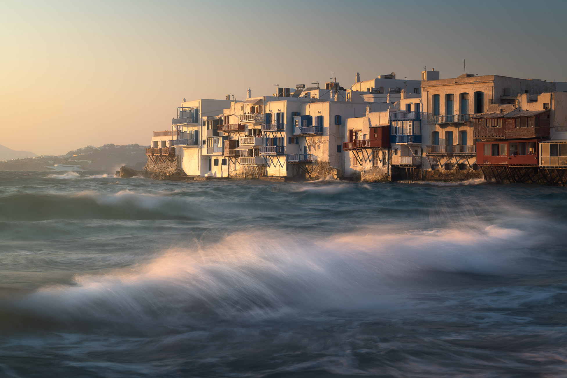 Little Venice in Chora at Sunset, Mykonos, Greece