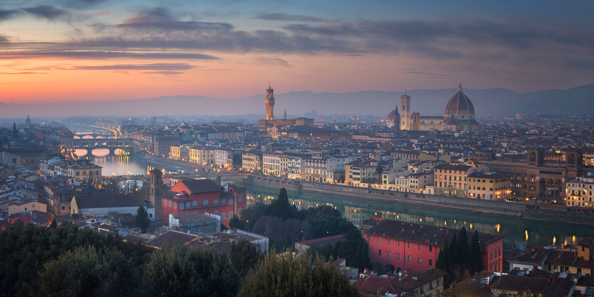 Panorama of Florence Skyline and Duomo Cathedral, Italy